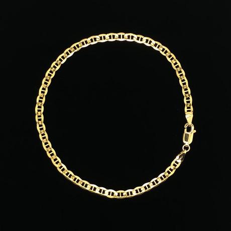 Hollow 10K Yellow Gold Mariner Chain Bracelet // 3.5mm