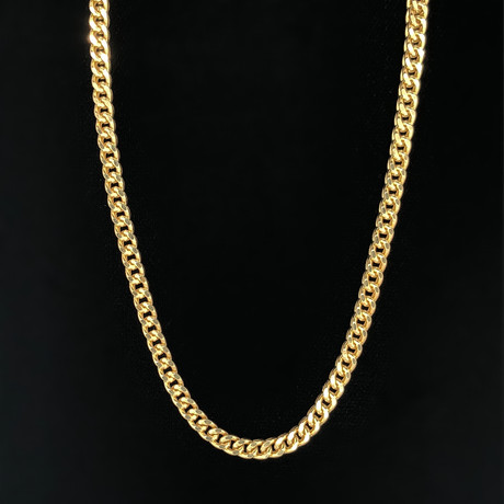 4mm Hollow Franco Chain Necklace // 14K Yellow Gold