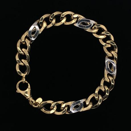 18K Yellow Gold Figaro Larga Chain Bracelet // 9.5mm