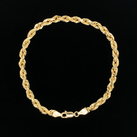 5mm Hollow Rope Chain Bracelet // 18K Yellow Gold