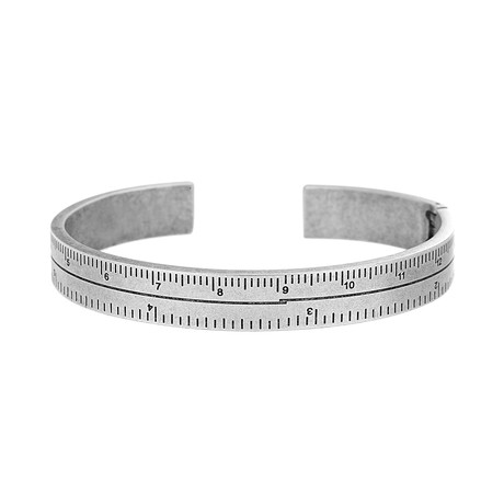 Stainless Steel Ruler Design Cuff Bangle Bracelet // Silver