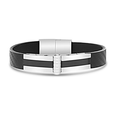 Stainless Steel + Leather Bracelet // Black + Silver