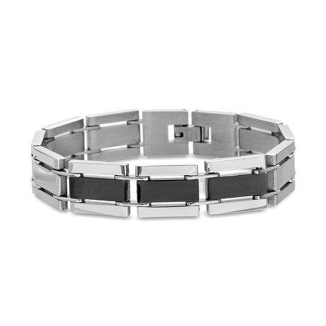 Steel Evolution // Stainless Steel Two-Tone Square Link Bracelet // Silver + Black