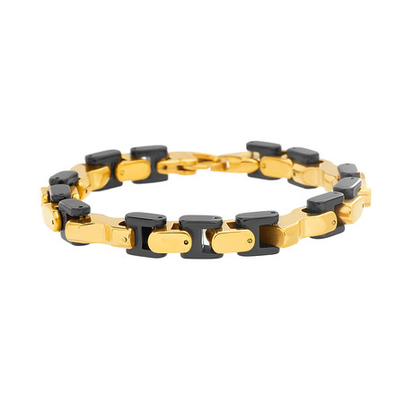 Stainless Steel Two-Tone Link Bracelet // Gold + Black
