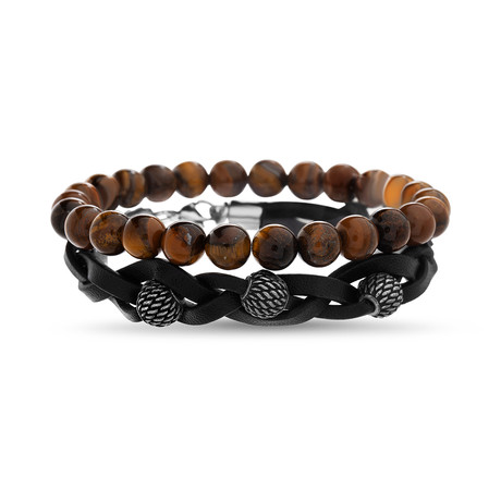 Onyx + Tiger's Eye Beaded Leather Bracelet Set // 2-Pack // Brown + Black + Silver