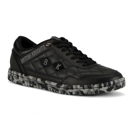 Quilts Sneaker // Black + Camo + Gray (US: 7)