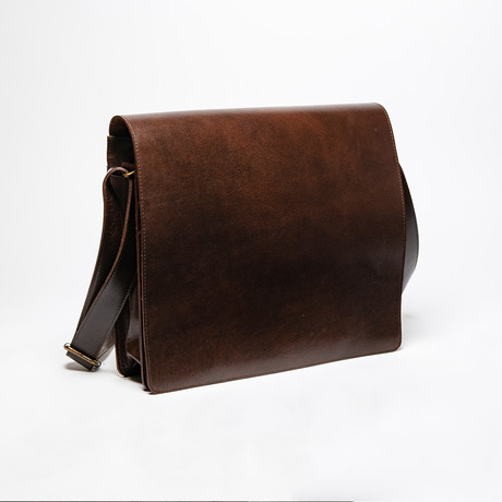 "Leather Messenger Laptop Bag 13"" // Antique Brown"