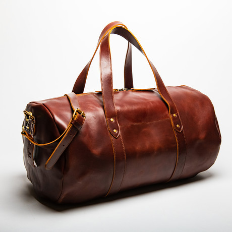 "Leather Gym Bag 20"" // Antique Brown"