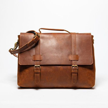 Urban Leather Messenger Bag // Distressed Brown