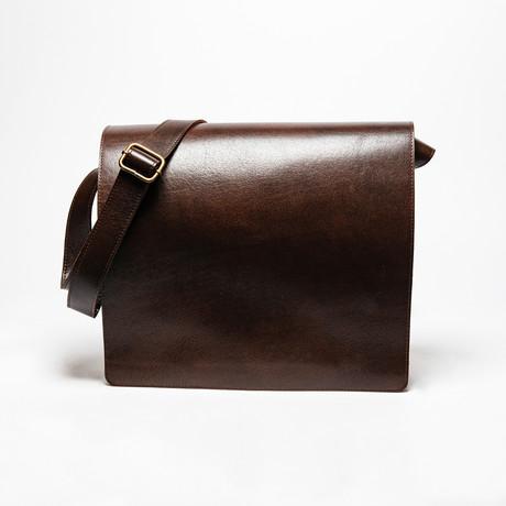 "Leather Messenger Laptop Bag 14"" // Antique Brown"
