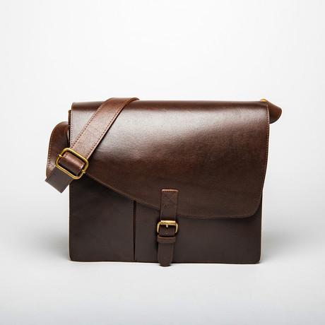 "Leather Messenger Laptop Bag 2.0 12"" // Antique Brown"