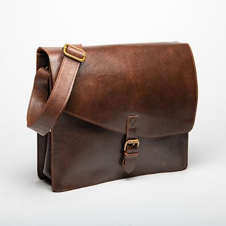 "Leather Messenger Laptop Bag 14"" // Antique Brown"