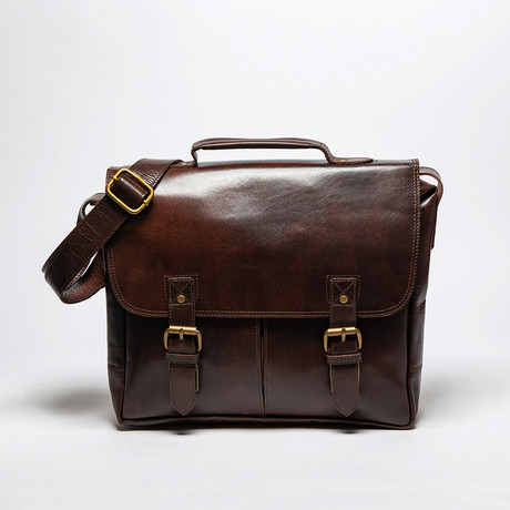 Small Coarse Leather Messenger Bag // Antique Brown