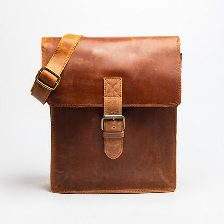 Full Grain Leather Messenger Bag Large // Saddle Brown