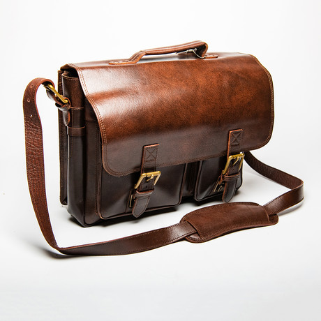 Front Pocket Leather Briefcase // Antique Brown