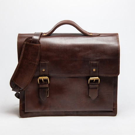 """Complete Leather Briefcase 14"""" // Antique Brown"""