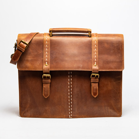 "Travel Leather Briefcase 17"" // Saddle Brown"