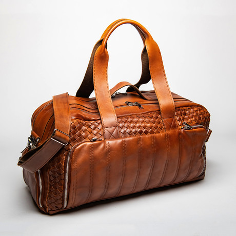 "Woven Leather Travel Duffle Bag 20"" // Choco Brown"