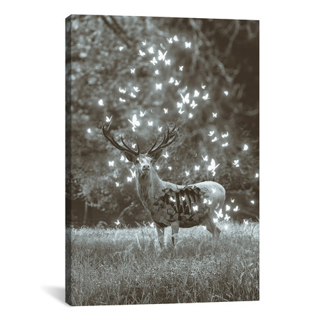 """White Deer Light Within In Black & White // Soaring Anchor Designs (18""""W x 26""""H x 0.75""""D)"""