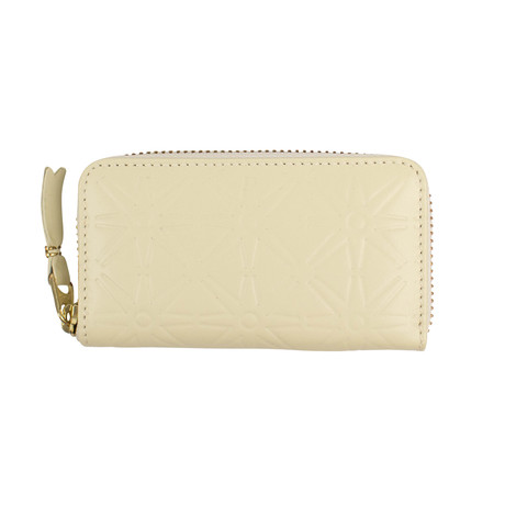 Leather Star Embossed Mini Wallet Coin Purse // Ivory