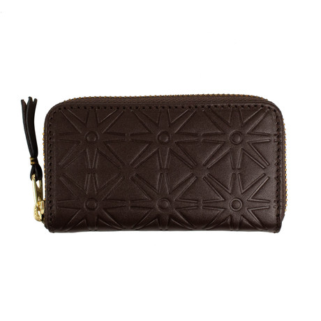 Leather Star Embossed Mini Wallet Coin Purse // Brown