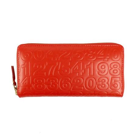 Comme Des Garçons // Leather Number Embossed Wallet // Red Orange