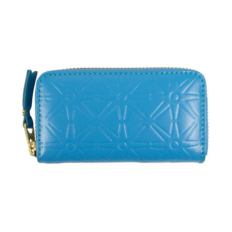 Leather Star Embossed Mini Wallet Coin Purse // Blue