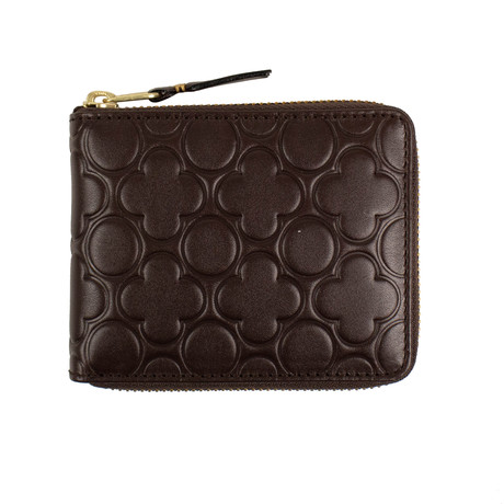 Comme Des Garçons // Leather Clover Embossed Small Wallet // Brown