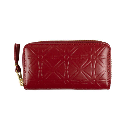 Leather Star Embossed Mini Wallet Coin Purse // Red