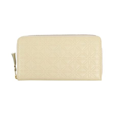 Comme Des Garçons // Leather Star Embossed Wallet // Cream