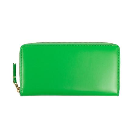 Comme Des Garçons // Leather Zip Around Wallet // Green