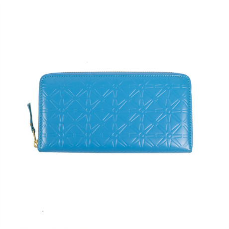Leather Star Embossed Wallet // Blue