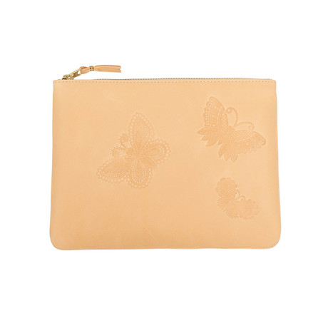 Natural Leather Butterfly Embossed Pouch Wallet // Beige