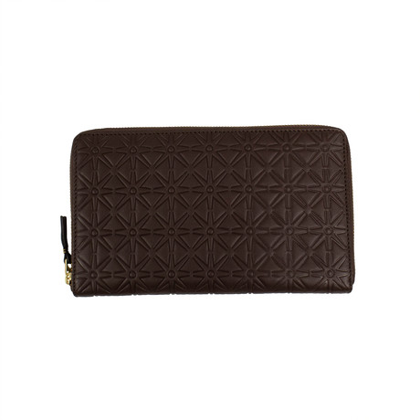 Leather Star Embossed Travel Organizer Wallet // Brown