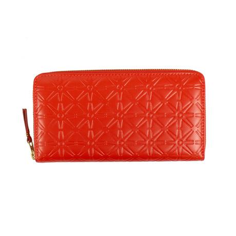 Comme Des Garçons // Leather Star Embossed Wallet // Red Orange
