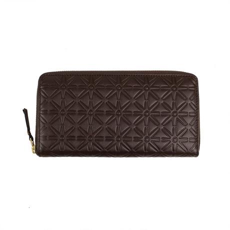 Comme Des Garçons // Leather Star Embossed Wallet // Brown