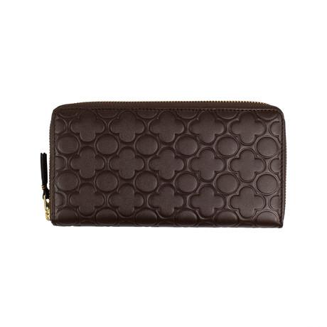 Comme Des Garçons // Leather Clover Embossed Wallet // Brown