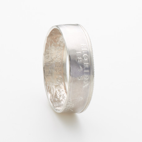 Silver State Quarter Coin Ring // Florida // Polished Silver (Size 7)