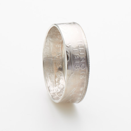 Silver State Quarter Coin Ring // Illinois // Polished Silver (Size 7)