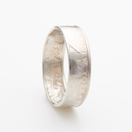 Silver State Quarter Coin Ring // New York // Polished Silver (Size 7)