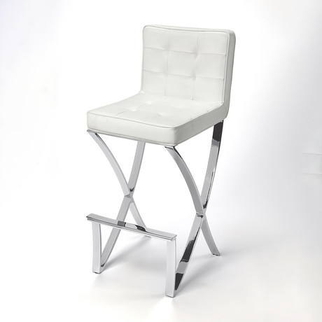 Addison White Leather Bar Stool
