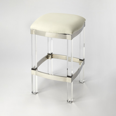 Preston White Leather Counter Stool