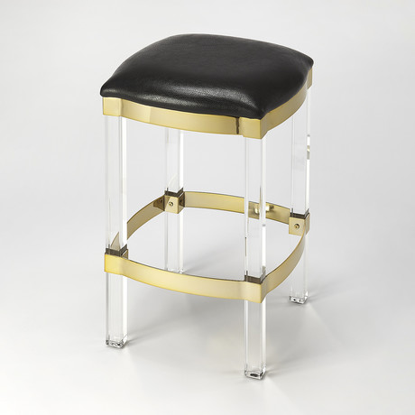 Preston Black Leather Counter Stool