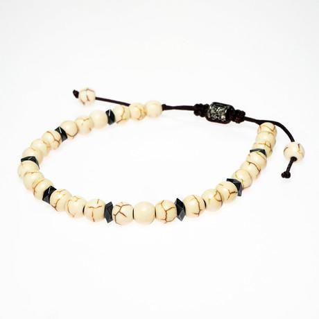 White Howlite Shamballa + Hematite Inserts Bracelet