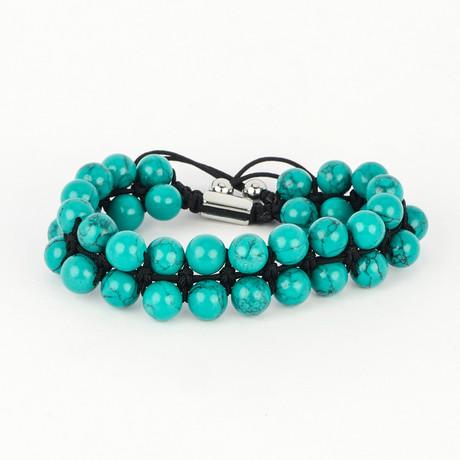 Double Striped Bracelet // Blue + Turquoise