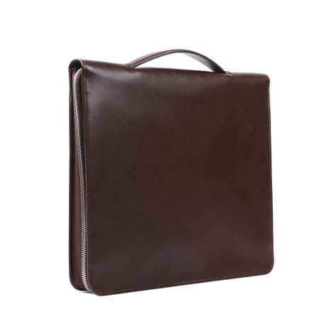 Large Saffiano Portfolio Holder // Brown