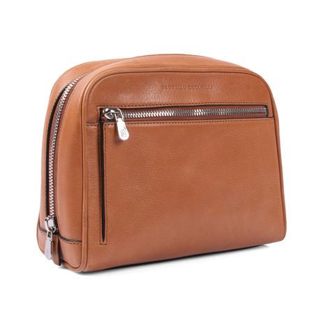 Leather Dopp Kit // Cognac