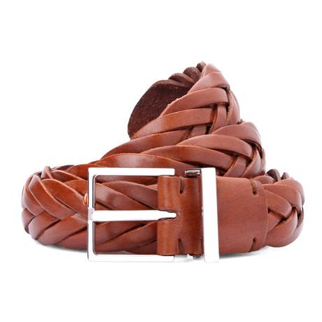 "Intricate Design Leather Belt // Cognac (39"" Waist)"