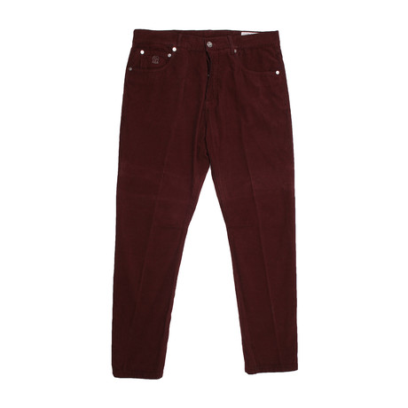 5 Pocket Denim Style Corduroy Pants // Burgundy (34WX32L)