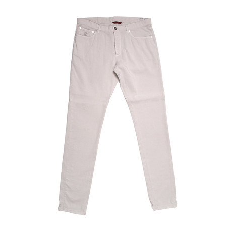 5 Pocket Denim Style Corduroy Pants // Ivory (28WX32L)